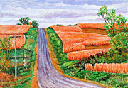 Powerlines Paintings - The Coming Harvest by David Bratzel