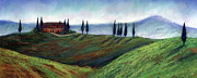Tuscan Sunset Painting Metal Prints - The Convent Tuscany Metal Print by Theresa Evans