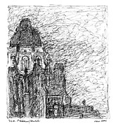 Philadelphia Drawings - The Drake Building by Elizabeth Carrozza
