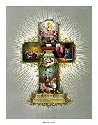 Jesus Mixed Media Metal Prints - The Easter Cross Metal Print by War Is Hell Store