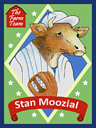 Baseball Cards Framed Prints - The Farm Team - Stan Moozial Framed Print by Alison Stein