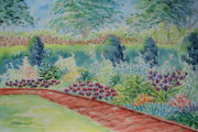 Brick Paintings - The Garden Path At Hill-Stead by Collette Hurst