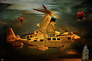 Helicopter Digital Art Prints - The Golden Osprey A Steam Powered Flying Gunship Print by Chris Lord