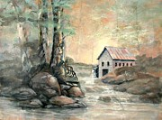 Grist Mill Paintings - The Grist Mill by Gary Partin