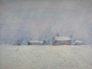 Snowstorm Paintings - The Homestead in Winter by Frieda Bruck