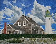New England Lighthouse Painting Prints - The Light Keepers House Print by Dominic White