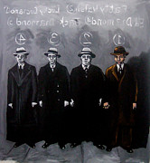 Mafia Paintings - The Line Up --Charles Lucky Luciano by David Tuminello