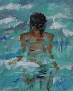 Woman In Water Painting Posters - The Love Of Water Poster by Leslie Allen