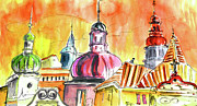 Prague Drawings Acrylic Prints - The Magical Roofs of Prague 01 bis Acrylic Print by Miki De Goodaboom