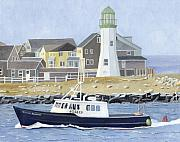 New England Lighthouse Painting Prints - The Michael Brandon Print by Dominic White
