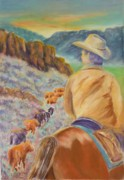 Animals Pastels Originals - The Narrow Pass by Angela  Harris