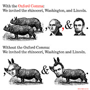 Collage Framed Prints - The Oxford Comma Framed Print by Eric Edelman