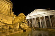 Night Time Framed Prints - The Pantheon at night. Piazza Della Rotonda.Rome Framed Print by Bernard Jaubert