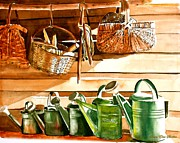 Shed Painting Framed Prints - The Potting Shed Framed Print by Susan Elise Shiebler