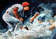 Baseball Art Print Painting Metal Prints - The Slide Metal Print by Hanne Lore Koehler