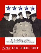 United States Government Framed Prints - The Sullivan Brothers Framed Print by War Is Hell Store
