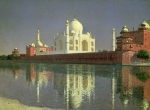 Shimmering Posters - The Taj Mahal Poster by Vasili Vasilievich Vereshchagin