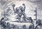 Match Drawings - The Wrestling Match by Bill Joseph  Markowski