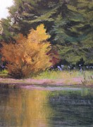 Forest Pastels Originals - The Yellow Tree by Paula Ann Ford