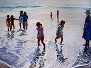 Kids Playing At Beach Prints - Their World Print by Michael Jacques