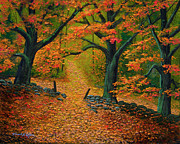 Frank Wilson Prints - Through The Fallen Leaves Ii Print by Frank Wilson