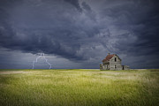 Lightning Wall Art Framed Prints - Thunderstorm on the Prairie Framed Print by Randall Nyhof