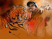 Tiger Woods Drawings - Tiger Woods or Earn Your Stripes by Miki De Goodaboom