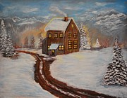 Log Cabin Art Paintings - Toasty Cabin by Leslie Allen