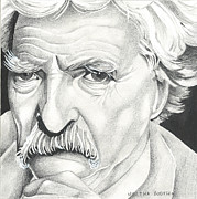 Tom Selleck Prints - Tom Selleck as Mark Twain Print by Martha Booysen