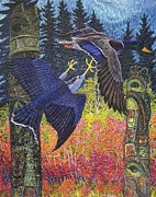 Poles Drawings - Totem Spirits-Northern Goshawk and Mallard Drake by Tim McCarthy