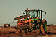 Plowing Framed Prints - Tractor Plowing the Cotton Field Framed Print by Melany Sarafis
