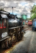 Road Travel Posters - Train - Engine - 4039 - In the train yard  Poster by Mike Savad