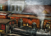 Vintage Houses Posters - Train - Yard - The train yard II Poster by Mike Savad