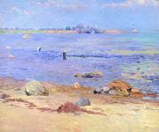 New England Lighthouse Painting Prints - Treading Clams at Wickford Print by William James Glackens