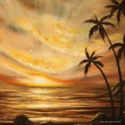 Sunsets Original Paintings - Tropical Sunset 64 by Gina De Gorna