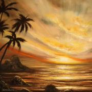 Sunsets Original Paintings - Tropical Sunset 65 by Gina De Gorna