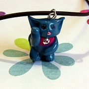 Kitty Jewelry - Turquoise Blue Maneki Neko Lucky Beckoning Cat Necklace by Pet Serrano