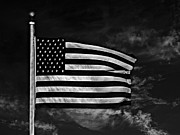 Stars And Stripes Mixed Media Prints - Twilights Last Gleaming BW Print by David Dehner