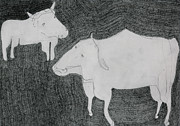 Bulls Drawings Posters - Two Bulls Poster by Edgeworth Johnstone