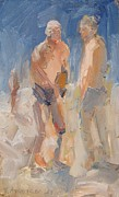 Sit-ins Prints - Two Guys at Nissi Beach Print by Paskalis Anastasi