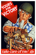 Victory Framed Prints - Uncle Sam Yours For Victory Framed Print by War Is Hell Store