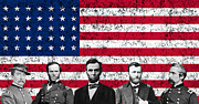 Leaders Mixed Media Framed Prints - Union Heroes and The American Flag Framed Print by War Is Hell Store