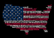 New York City Map Digital Art - USA Main Cities Flag Map by Cedric Darrigrand