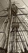 Old Ironsides Prints - USS Constitution masts - sepia Print by Tim Mulina