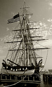 Old Ironsides Prints - USS Constitution stern - Sepia Print by Tim Mulina