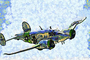 Wingsdomain Art and Photography - Van Gogh Flies A Twin Beech C-45...