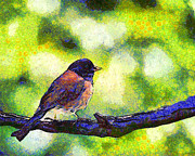 Wingsdomain Art and Photography - Van Gogh.s Little Chickadee Perched On...