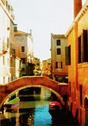 Michelle Calkins - Venice Italy Canal with Boats and...