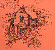 Illinois Drawings - Victorian Home in Deerfield Illinois by Robert Birkenes