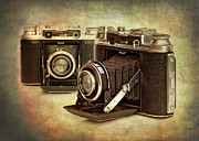 Black And White Photos - Vintage Cameras by Meirion Matthias